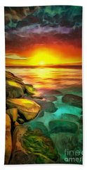 Ocean Lit In Ambiance Beach Towel