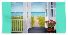 Ocean Porch View And Geraniums Beach Towel