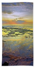 Beach Towel featuring the photograph Ocean Puddles At Sunset On Molokai by Tara Turner