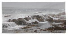 Ocean Waves Over Rocks Beach Towel