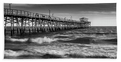 Beach Towel featuring the photograph Oceana Ocean Crest Fishing Pier In Nc Panorama In Bw by Ranjay Mitra