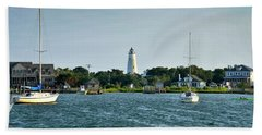 Ocracoke Island Lighthouse From Silver Lake Beach Towel