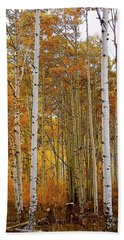 October Aspen Grove  Beach Towel by Deborah Moen