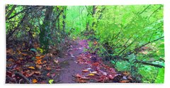 October Forest Pathway Beach Towel
