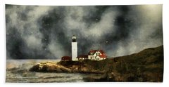 October Night, Portland Head Beach Towel