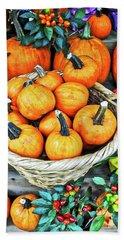 October Pumpkins Beach Towel