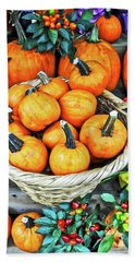 October Pumpkins Beach Sheet by Joan Reese