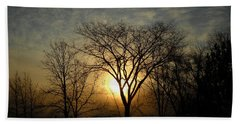 October Sunrise Behind Elm Tree Beach Towel by Kent Lorentzen