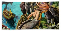 Odysseus And The Sirens Beach Towel by English School