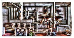 Office Building Pump Room - Sala Pompe Palazzo Abbandonato Paint Beach Sheet