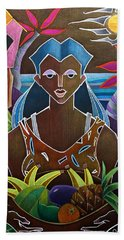 Beach Towel featuring the painting Ofrendas De Mi Tierra II by Oscar Ortiz