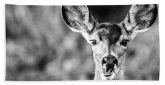 Oh, Deer, Black And White Beach Towel