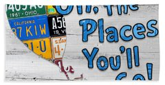 Oh The Places Youll Go Dr Seuss Inspired Recycled Vintage License Plate Art On Wood Beach Towel