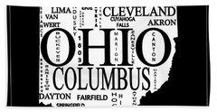 Ohio City Typography Map Beach Towel