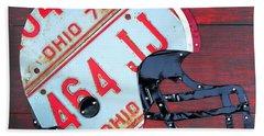 Ohio State Buckeyes Football Helmet Recycled Vintage License Plate Art Beach Towel