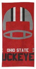 Ohio State Buckeyes Vintage Football Art Beach Towel by Joe Hamilton