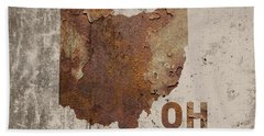 Ohio State Map Industrial Rusted Metal On Cement Wall With Founding Date Series 018 Beach Towel
