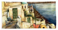 Oia Santorini Greece - Watercolor Beach Towel