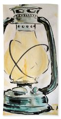 Beach Towel featuring the painting Oil Lamp by Maria Langgle