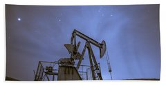 Oil Rig And Stars Beach Towel
