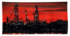 Oil Rigs Night Construction Portland Harbor Beach Towel