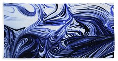 Oil Swirl Blue Droplets Abstract I Beach Sheet
