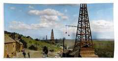 Beach Towel featuring the photograph Oil Well by Granger
