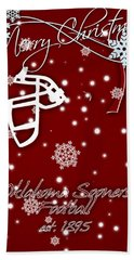 Oklahoma Sooners Christmas Card Beach Towel