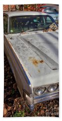 Beach Towel featuring the photograph Old Abandoned Car Weare New Hampshire by Edward Fielding