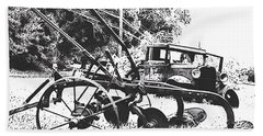 Old And Rusty In Black White Beach Towel