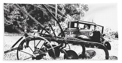 Old And Rusty In Black White Beach Sheet by MaryLee Parker