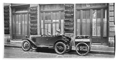 old automobile poster art wall - photo auto poster, auto photography restored - Restored auto photo  Beach Towel