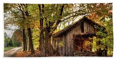 Old Autumn Shed Beach Sheet