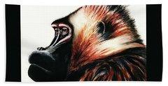 Old Baboon Animal Art Drawing Beach Towel