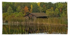 Old Bait Shop On Twin Lake_9626 Beach Sheet by Michael Peychich