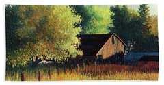 Old Barn At Sunrise Beach Towel