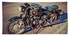 Old Beamer Motorcycle Beach Towel