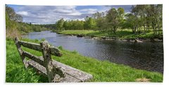Old Bench Along Spey River, Scotland Beach Towel