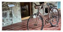 Beach Towel featuring the photograph Old Bicycle In The Monastery Of Santo Estevo De Ribas Del Sil by Eduardo Jose Accorinti