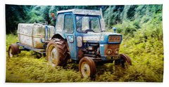 Old Blue Ford Tractor Beach Towel