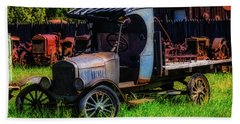Old Blue Ford Truck Beach Sheet by Garry Gay