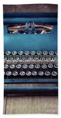 Beach Towel featuring the photograph Old Blue Typewriter by Edward Fielding