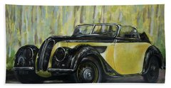 Old Bmw Yellow Car Painted On Leather, Vintage 1938 Beach Towel