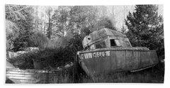Old Boat In A Boat Graveyard Beach Sheet
