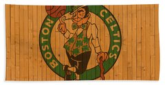 Old Boston Celtics Basketball Gym Floor Beach Towel