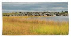 Old Bridge In Autumn Beach Towel
