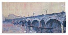 Old Bridge Of Maastricht In Warm Diffuse Autumn Light Beach Sheet by Nop Briex