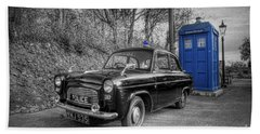 Old British Police Car And Tardis Beach Sheet