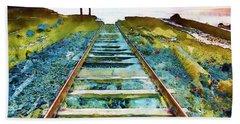 Old Broken Railway Track Watercolor Beach Towel