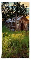 Old Cabin At Sunset Beach Towel